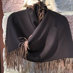 Etcetera Wool and Suede Fringe Wrap